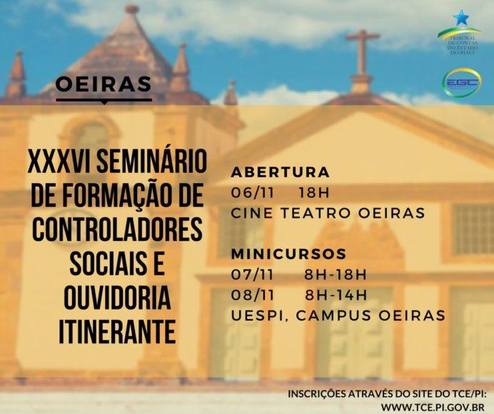 TCE-PI realizará XXXVI Seminário de Controladores Sociais e Ouvidoria em Oeiras 1