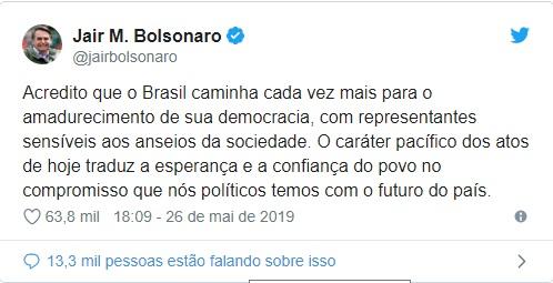 """Presidente destaca """"caráter pacífico"""" de atos em defesa do governo 3"""