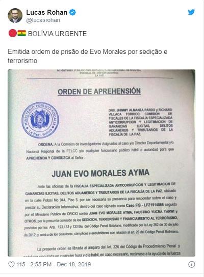 Ministério Público da Bolívia emite ordem de prisão contra Evo Morales por 'terrorismo' 2