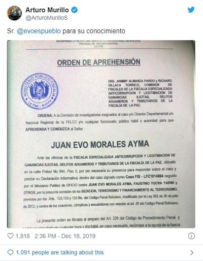 Ministério Público da Bolívia emite ordem de prisão contra Evo Morales por 'terrorismo' 3