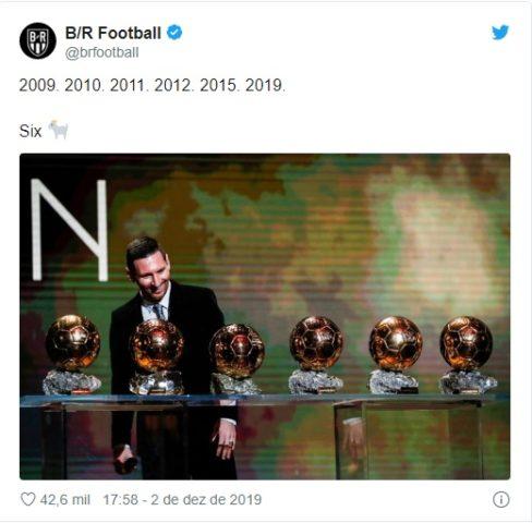 Messi conquista Bola de Ouro pela sexta vez e se isola como maior vencedor 2