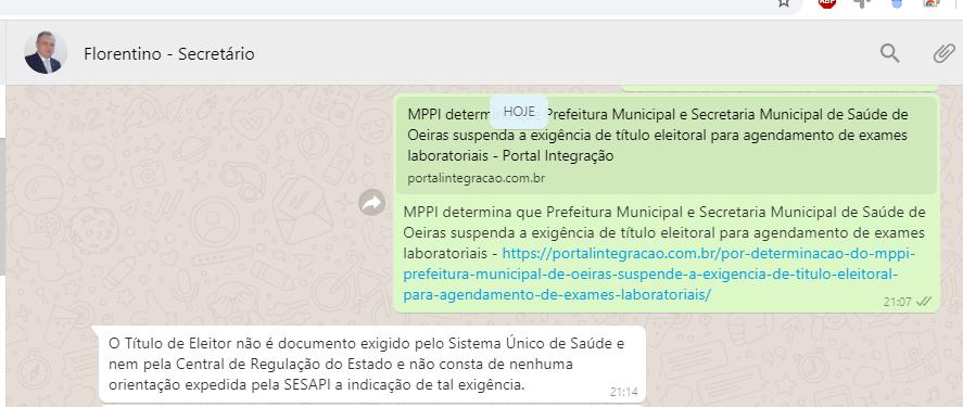 Secretário Estadual de Saúde afirma não ser exigência do SUS o título de eleitor para marcação de exames em Oeiras 2