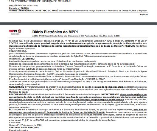 MPPI determina que Prefeitura Municipal e Secretaria Municipal de Saúde de Oeiras suspenda a exigência de título eleitoral para agendamento de exames laboratoriais 2