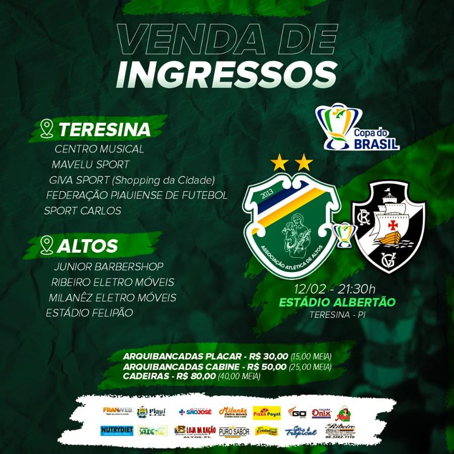 Time de Altos já inicia venda de ingressos para jogo diante do Vasco 2