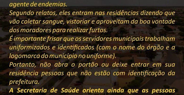 Falsos agentes de saúde aplicam golpes em São Raimundo Nonato (PI) 1
