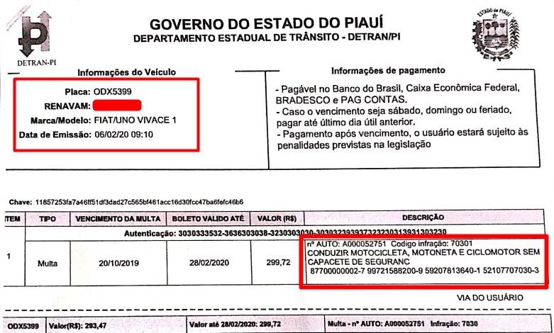Lavrador é multado pelo Detran por conduzir carro sem capacete no Norte do Piauí 2