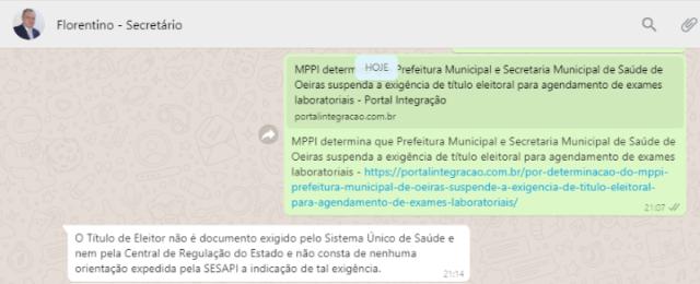 Secretaria de Saúde do Estado do Piauí desfaz parceria com o município de Oeiras no agendamento de exames laboratoriais 2
