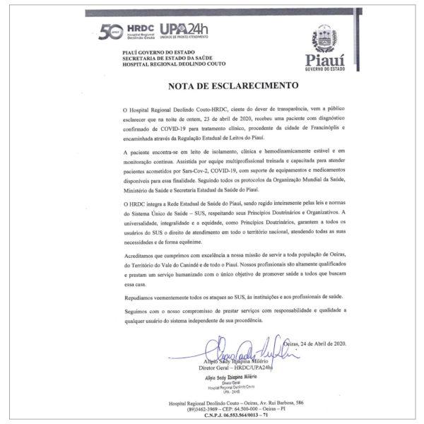 Hospital Regional de Oeiras recebe primeiro paciente confirmado com COVID-19 2