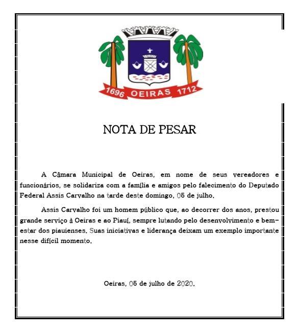 Câmara de vereadores de Oeiras emite nota de pesar pelo falecimento do deputado Assis Carvalho 2