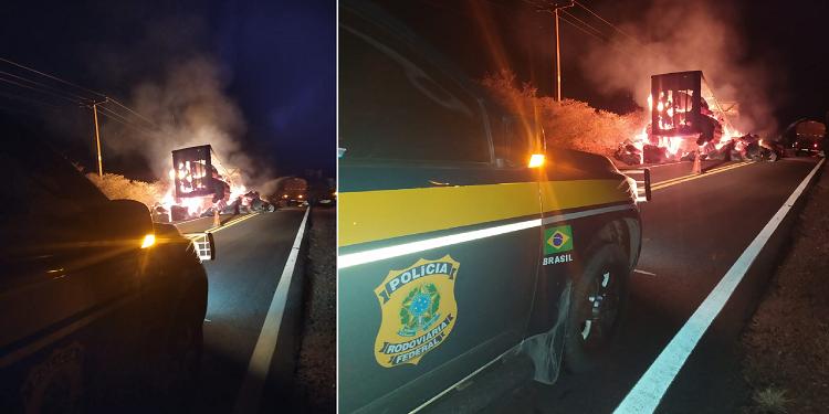 Carga de algodão é totalmente destruída após veículos pegarem fogo na BR 135 1