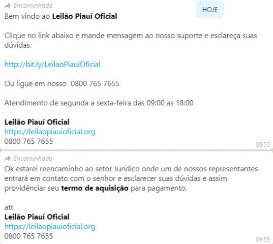 Criminosos tentam aplicar golpe em empresário de Oeiras através do whatsapp 2