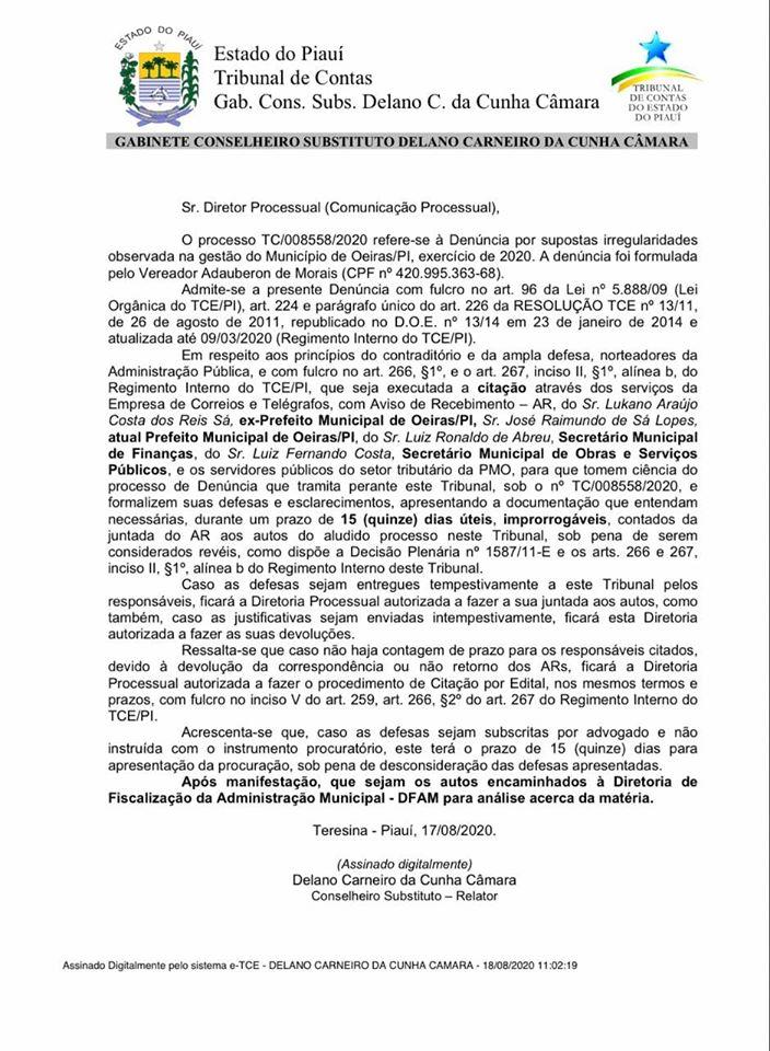 TCE reconhece gravidade de denúncia apresentada por Beron Morais e notifica prefeito de Oeiras e auxiliares 2