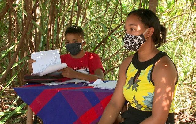 Pai monta barraca de palha na mata a 500m de casa para filho ter acesso à internet e assistir a aulas no Piauí 1
