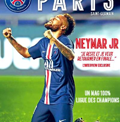 """""""Je reste"""": Neymar diz à revista do PSG que fica para ir à final da Champions de novo e ganhar 1"""